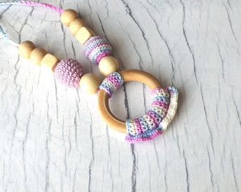 Crochet Nursing Necklace with Wooden Ring- Teething Necklace in Lavender Colors- Breastfeeding Necklace- Babywearing Jewelry
