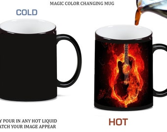 Guitar on Fire Morph Morphing Color Changing Ceramic Coffee Mug Tea Cup 11oz, 99996x1