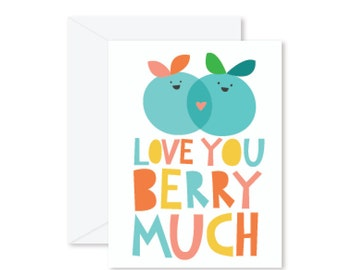 GREETING CARD | Love You Berry Much : Fruit Modern Illustration Art
