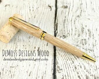 Chestnut Wood Pen, Wood Turned, Euro Style, Black Ink, Gold Finish