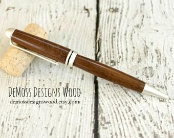 Ipe Wood Pen, Wood Turned, Euro Style, Black Ink, Pearl Finish