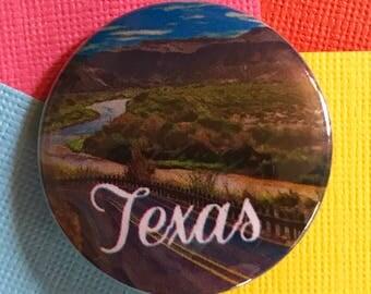 Texas Travel Pinback Button, Texas Pin, Texas Keychain, Texas Magnet, Austin, Dallas, Houston, Texas State, Texas Landscape Backpack Pin