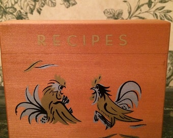 Vintage Wooden Recipe Box With Roosters - Includes Card Dividers and Blank Recipe Cards