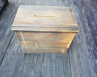 Wedding Card Box- Rustic Wood Card Box- Wedding Decor- Barn Wedding