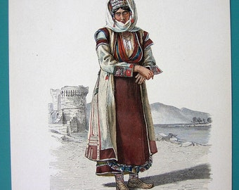 MONTENEGRO Costume Fashion of Local Woman from Postinje - 1880s COLOR Lithograph Antique Print