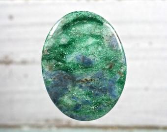 Both sides polished Fuchsite cabochon pebble iridescent pocket stone  40x31mm