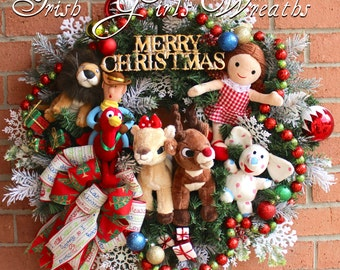 Ultimate Rudolph & Clarice and Misfit Toys Christmas Wreath, Reindeer, Misfit Dolly, Spotted Elephant, MoonRacer, Cowboy - READY TO SHIP