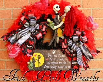 Jack Skellington and Sally Wreath, -MADE TO ORDER- Nightmare Before Christmas Wreath,  Meant To Be  Skellington Valentines Wreath