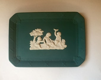Spruce Green Wedgewood Jasperware Templeton Tray Rectangular