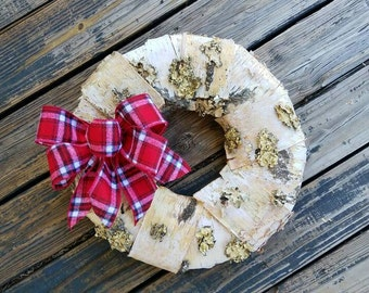 Christmas Wreath, Holiday Wreath, Birch Bark Wreath, Rustic Wreath