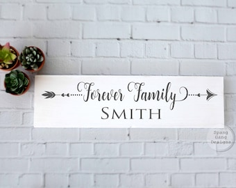 Family Last Name Sign | Personalized Name Sign | Housewarming gift | Wedding gift | Arrow Decor | Family Wood Sign | Gallery Wall Art Decor