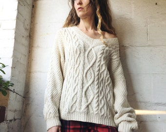 The Essential 1980s Irish Basic Cable Knit Cream Sweater