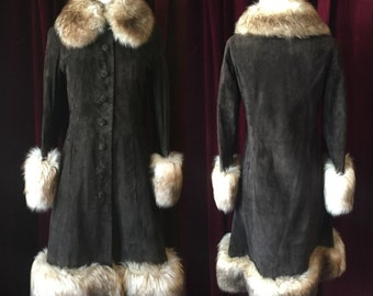 "Gorgeous Brown Leather ""Penny Lane"" Coat with Fur Collar and Trim"