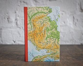 """Hardcover Travel Diary """"World Maps"""", Hand-made from Discarded Materials"""