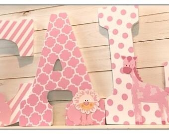 Noah's Ark Inspired. Twin Nursery. Wood Letters. Baby girl Nursery Letters. Animals. Baby Nursery. Safari Nursery Decor. Wood Letters.