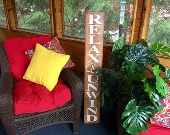 Jumbo Porch Deck Relax and Unwind Wooden Primitive Sign