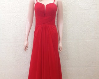 Red Long Bridesmaid Dress. Red Prom Dress. Maxi Dress.