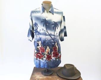 1980s PIERRE CARDIN Men's pinup Girl Shirt Vintage Short Sleeve Hawaiian Style shirt by Cardin - Size MEDIUM
