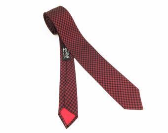 1950s Silk Hardy Amies London Tie Men's Vintage Skinny Mad Men Era Red & Black Sharkskin Necktie from Harrod's