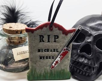 michael myers halloween gravestone halloween decoration spooky decoration bloody knife - Michael Myers Halloween Decorations