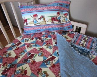 Toddler Bed CASE IH Baby Crib Bedding Set Rag Quilt  Sheet and Pillow Case International Harvester Tractor