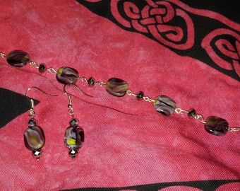 Purple and Silver Glass Bead Bracelet and Earring set