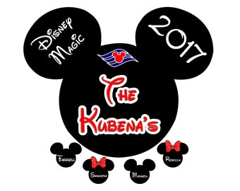 Disney Cruise Door Magnet Custom Personalized Mickey With Small Name Heads Disney Cruise Stateroom Door Magnet Disney Ship