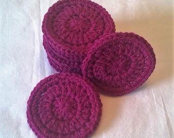 Cotton Face Scrubbies (set of 10) - Now in Fushia! Washable Facial Rounds, Reusable Cotton Rounds, Makeup Pads, Best Seller, Deep Pink