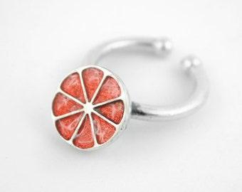 Half grapefruit Ring, Fruit ring, adjustable silver ring, grapefruit, food jewelry, Enamel ring