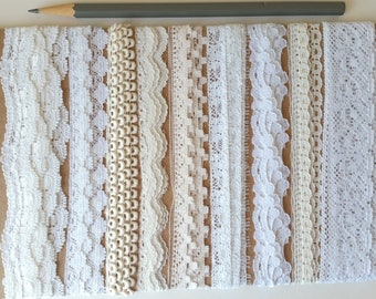 Cream and white lace ribbon assortment 9 yds