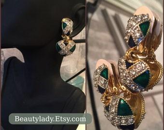 Vintage 1980's ClipOn Earrings /Sapphire /Emerald / Rhinestone Heart-shaped Clip On Earrings