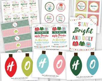Ugly Sweater Party Kit, Christmas Party Printables, Childrens Christmas Party, DIY Christmas Printables, Christmas Party Invite, Xmas Invite