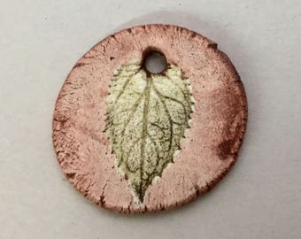 Handmade Ceramic Leaf Pendant