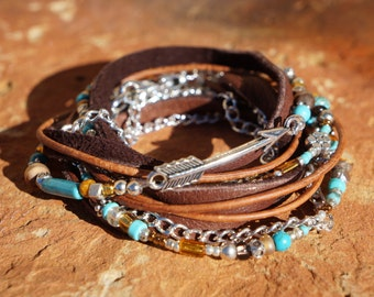 Boho Endless Leather Wrap Bracelet - Suede, Silver Arrow
