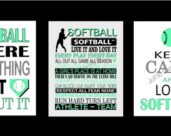 Set of Three Softball Prints, Softball print set, Softball sayings,  Softball posters, Sports Print Set, Softball bedroom, Softball