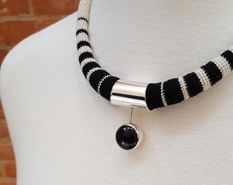 Silver and crocheted fiber necklace, black and white, handmade, modern, simple