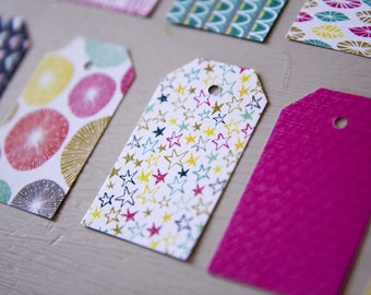 Labels, handmade tags, set of 16, sparkling theme 3,2mm x 5,5mm paper 200g / m2