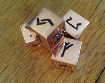 Rune Dice . Solid copper rune dice