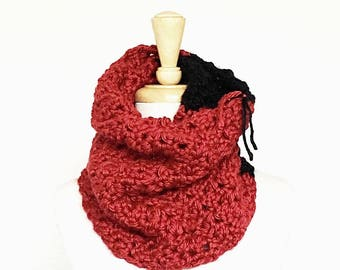 JUMBO STRIPED COWL // Crocheted Chunky Textured Cowl // Red and Black // Accessories // Handmade Knitwear