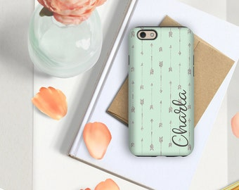 Personalized phone case, Arrows Green Tribal, Gift for her Fits iPhone 4/4s 5/5s 6/6s 7 8 5c SE X and Plus, Soft green w faux glitter (1740)