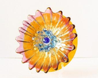 "Glass Plate Flower Garden Art ""Tequila Sunrise"" / Butterscotch Orange Magenta Blue Glass Yard Art & Painted Stem / Spring Garden Decor Gift"