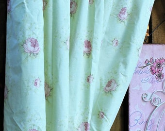 Laura Ashley, Floral Curtains, Rosemoor Pattern, Floral Drapes, Light Green Curtains, Full Length Curtains, With Tiebacks