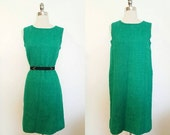 ON SALE 1960s Vintage Women's Green Sheath Dress Cocktail Holiday Party Size Large