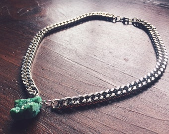 Turquoise Colored Titanium Aura Quartz Crystal Cluster - Chakra Opening Necklace - Reiki Infused