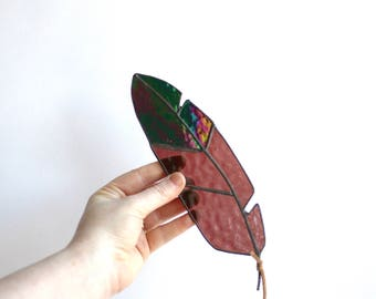"IRIDESCENT - 9"" Stained Glass Feather - medium - Iridescent black, and maroon/purple glass with leather for hanging"