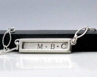 Personalized Silver Bar Necklace Hand Stamped Initials Necklace Personalized Mothers Necklace Hand Stamped Jewelry Couples Necklace