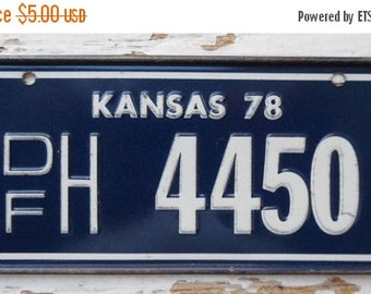 ON SALE Vintage, Kansas, 1978, Bike Plate, Bicycle, License Plate, Cereal Premium, Miniature, Tin, Embossed, Collectibles