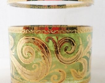 ON SALE Vintage, Culver, Toledo Pattern, Set of 3, Highball, Rocks, Glass, Green, Barware, Glassware, 22K Gold, Culver Ltd, Mid Century Mode