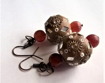Dangle Earrings: Brown, White, w/ Mirror Pieces Kashmiri Beads w/Red Brown Agate Beads