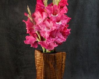 Memorial Vase, Keepsake Vase, Keepsake Vessel, Sedua Wood Vase, Sculpted Vase, Flower Vase